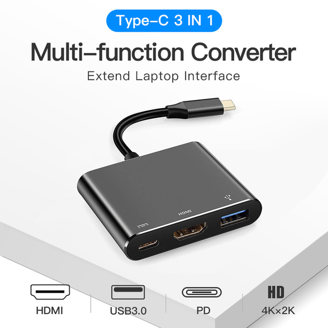 Type C Adapter Type C to USB 3.0 HDTV Converter PD Fast Charge Audio Video Converter Cable for Game Controller Laptop Phone