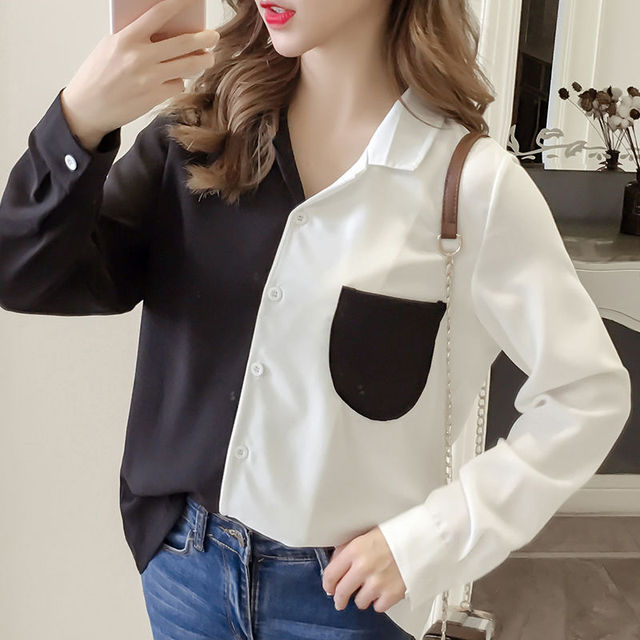 New Fashion Women Blouse Contrast Color Pockets Autumn Female Turn Down Collar Single Breasted Office Lady Shirt Top 5