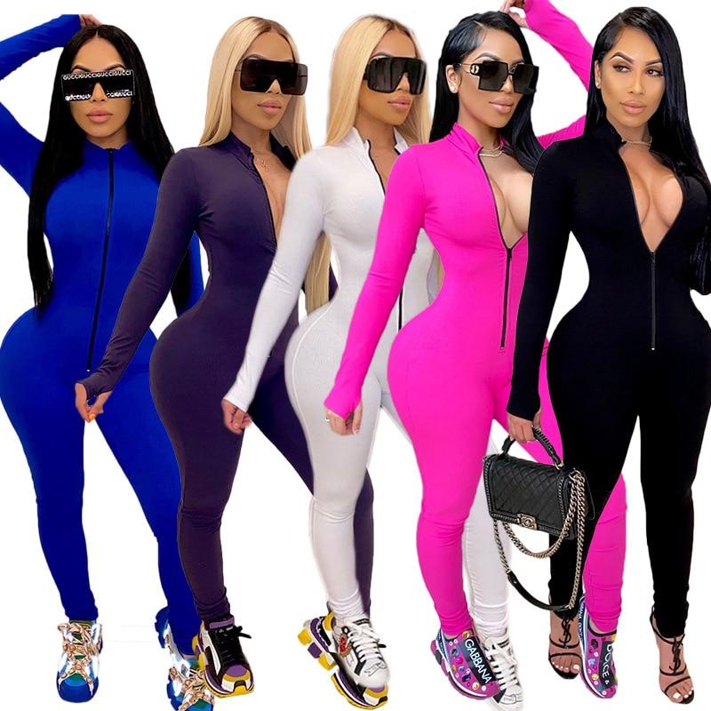 Seksi düz renk uzun kollu derin V Bodycon Rompers bayan tulum spor takım elbise moda Zip Up uzun pantolon tulum spor seti