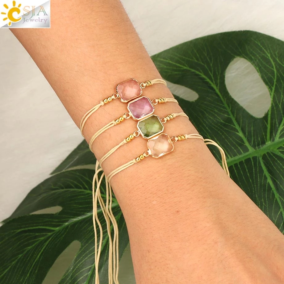 CSJA Braided Rope Chain Bracelets Adjustable Handmade Jewelry for Femme Faceted Crystal Glass Bead Bracelets Pulseras Mujer S500