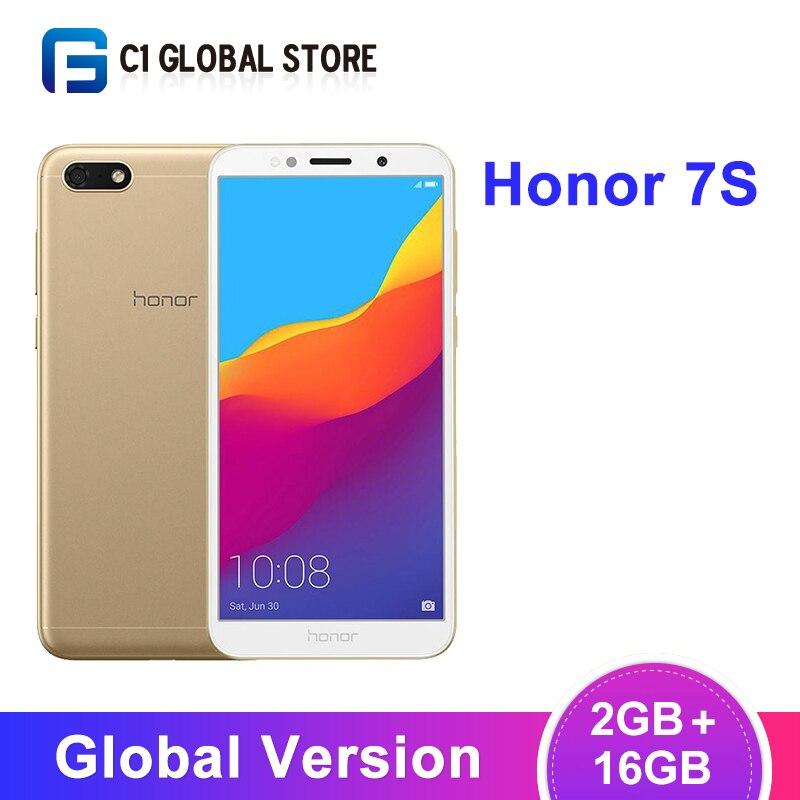 Version originale mondiale Honor 7S 2GB 16GB Smartphone MT6739 Quad Core 13MP caméra arrière 3020mAh batterie 5.45