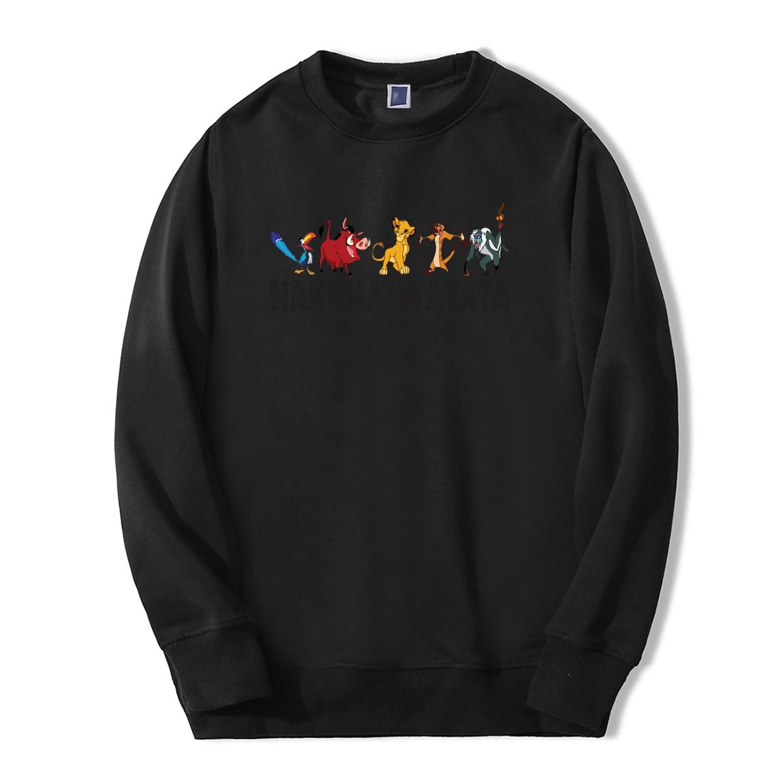 Hakuna Matata Anime Lion King 2019 New Spring Winter Fashion Men Sweatshirts Hoodies Cool Tracksuit Loose Fit Men Warm Pullover