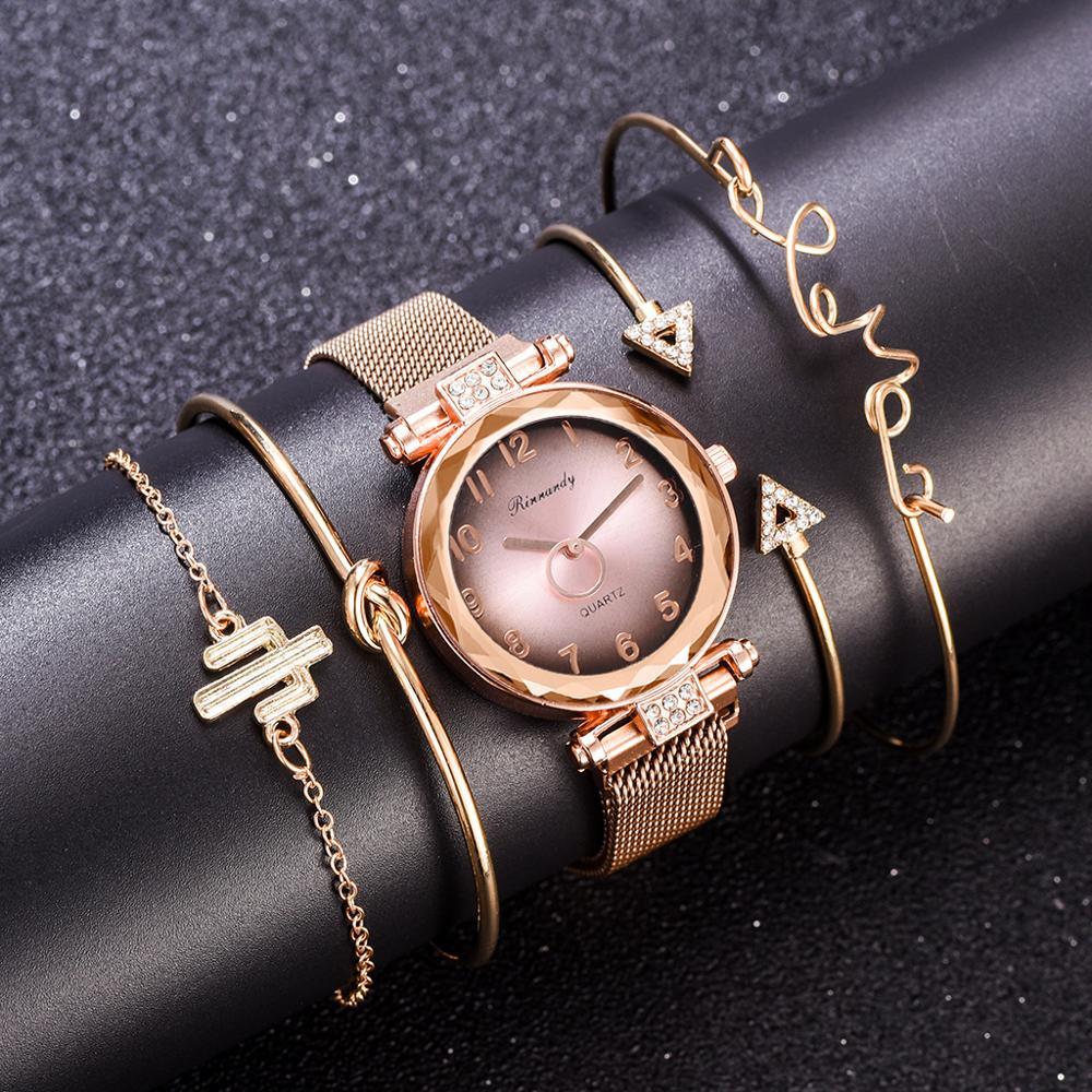 5PCS Watch Set With Bracelet Bangle Dazzling Jewelry Quartz Clock Magnetic Gradient Crystal Dial Ladies Wristwatch Women Clock