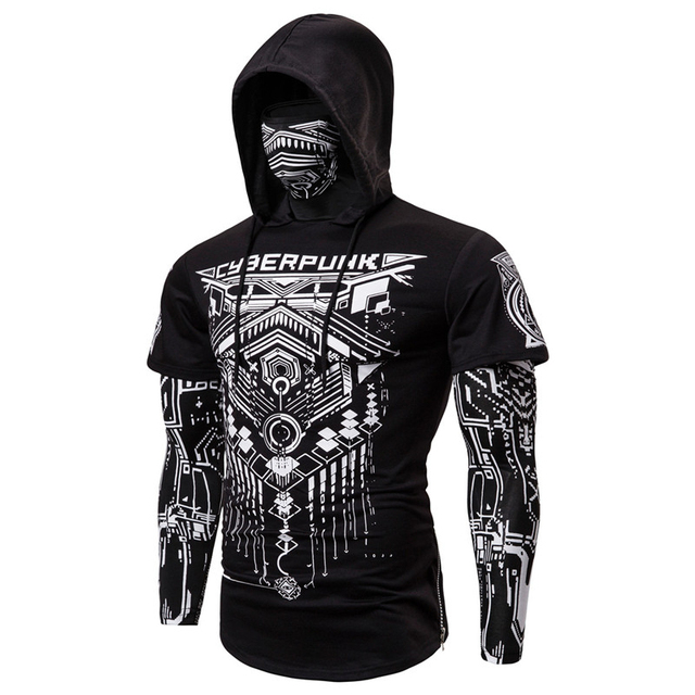 Mens Skull Mask Hoodies Sweatshirt Fake Two Pieces Men Punk Jogging Homme Pullover Elastic Streetwear Hoodie Japan Ninja Suit 4