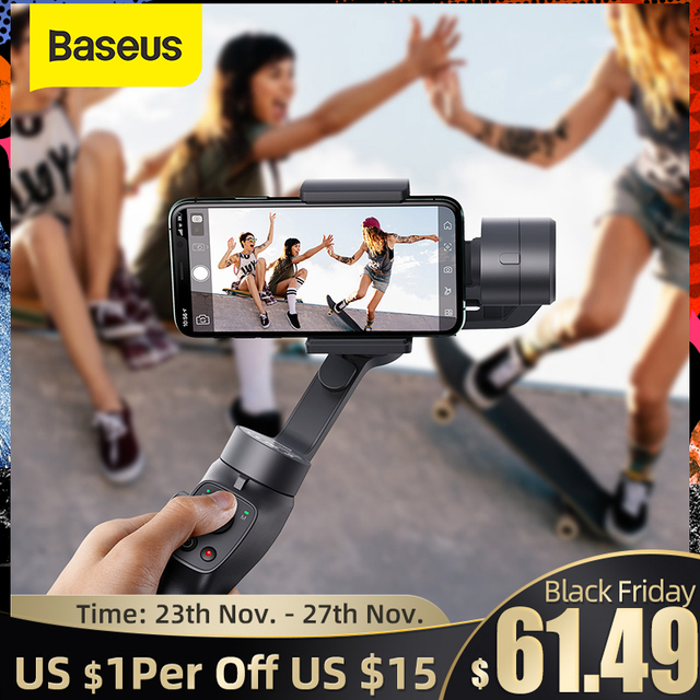Baseus 3 ציר אלחוטי Bluetooth כף יד טלפון Gimbal מייצב עבור iPhone Huawei חצובה Gimbal מייצב Gimal Smartphone