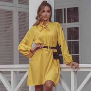 Image 5 - JYSS new trendy spring yellow dress women big long sleeve knee length dresses girl ropa mujer dress streetwear frocks 50168