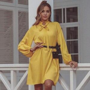 Image 5 - Jyss Nieuwe Trendy Lente Gele Jurk Vrouwen Grote Lange Mouw Knie Lengte Jurken Meisje Ropa Mujer Jurk Streetwear Jurken 50168