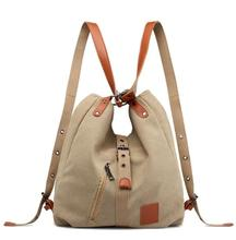 Canvas Women Shoulder Bags High Quality Multi function Women Back Pack For Students School Travel Bags Large Capacity