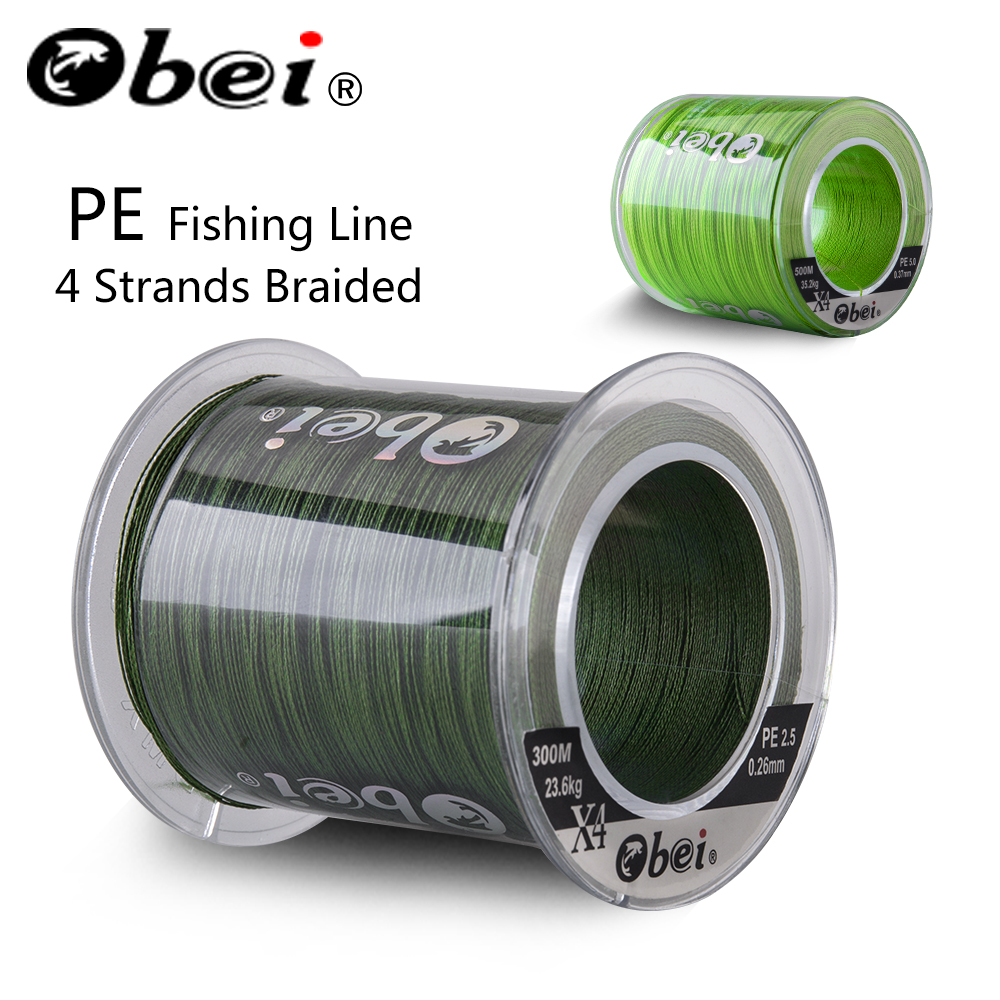 Obei 300M 500M PE Fishing Line 4 Strands Braided  Multifilament Fishing Line Smooth Sea Softwater Line 10-120lb