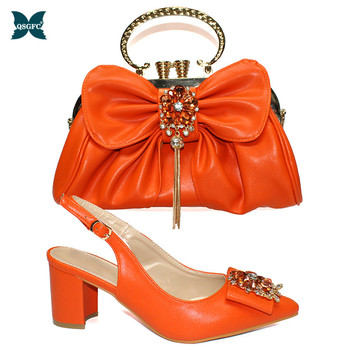 Latest Matching Italian design Shoe and Bag Set Decorated with Rhinestone High Quality African Shoes and Matching Bags in Orange