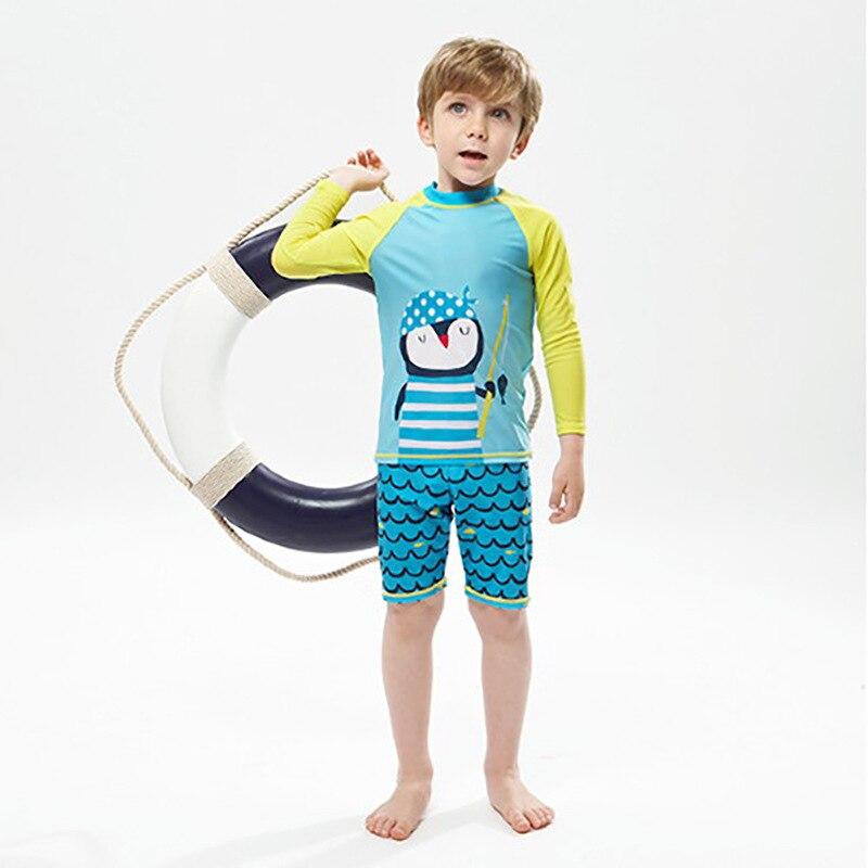 KID'S Swimwear Export South Korea Cute Medium-small Men's Large Girls Long Sleeve Sun-resistant Split Type Boxer Swim Bathing Su