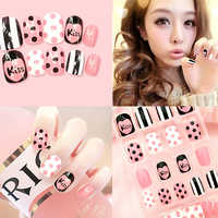 False Nails Finished Product Fake Nails Patch 24Pcs English Dotted Stripes Nail Finished Product Dotted Striped Fake Nails TSLM1