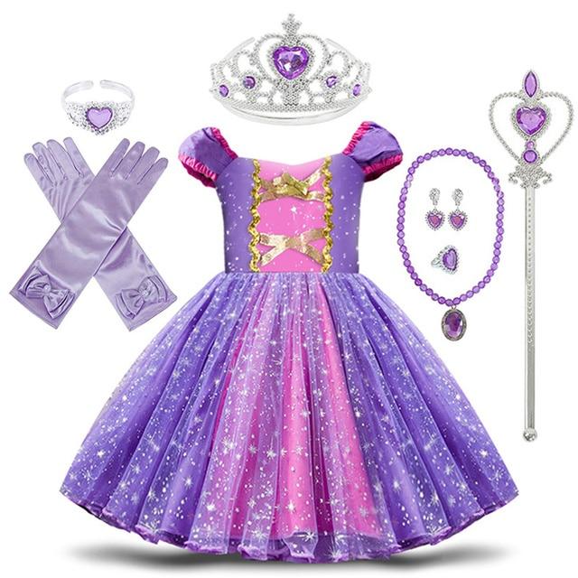 פעוט תינוק בנות רפונזל סופיה נסיכת תלבושות ליל כל הקדושים קוספליי בגדי מסיבת פעוט תפקידים לשחק ילדים מפואר שמלות לילדה