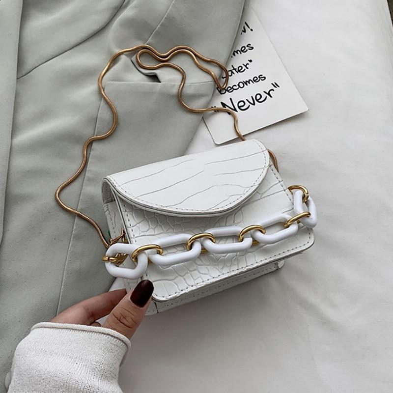 Mini bolso cruzado de piel sintética con cadena gruesa para mujer, bandolera de Color sólido con solapa, 2021