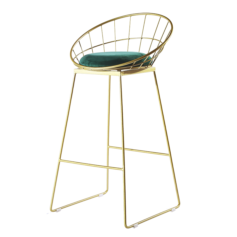 Nordic Bar Chair Golden Iron Modern Minimalist Home Clothing Store Back Checkout Counter Chair Net Red High Stool