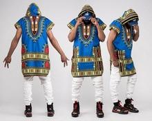 Adult Men African Dashiki Print Pullover Sweatshirt Hoodie Sleeveless Hippy Hooded Vest Waistcoat Outwear Tunic Wear For Men