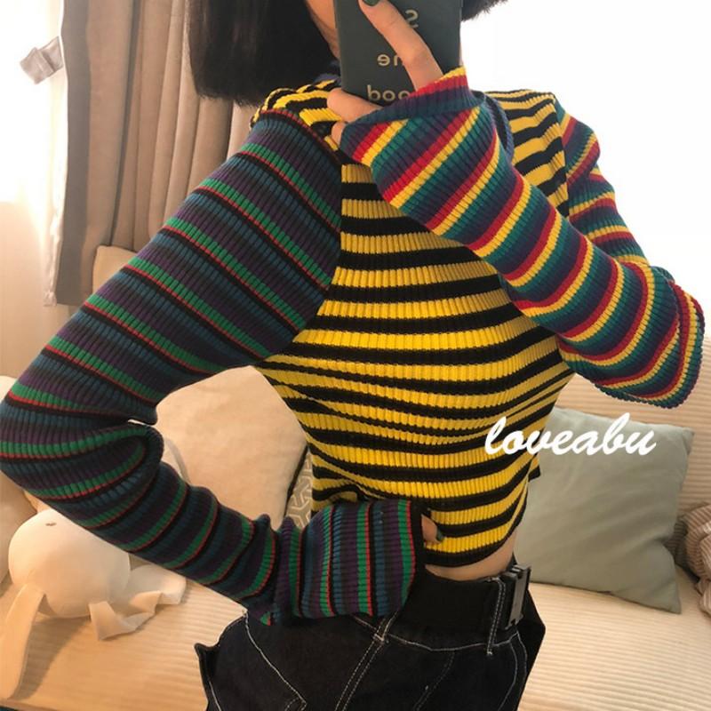 Europe Style Female T shirt Stripe Knitting T Shirt Women Vintage Streetwear Short Tshirt Women Tops Slim Fit Women 39 s Tee Shirt in T Shirts from Women 39 s Clothing