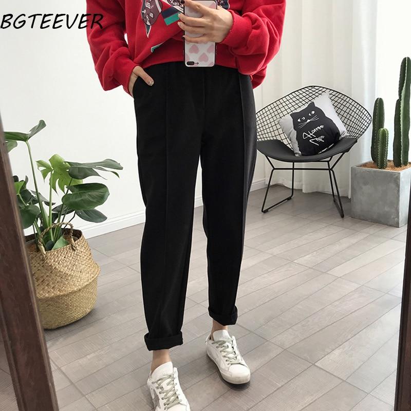BGTEEVER Spring Thicken Women Pencil Pants Plus Size Wool Pants Female Autumn High Waist Loose Trousers Capris Good Fabric Women Women's Clothings Women's Jeans cb5feb1b7314637725a2e7: Apricot|oatmeal|black