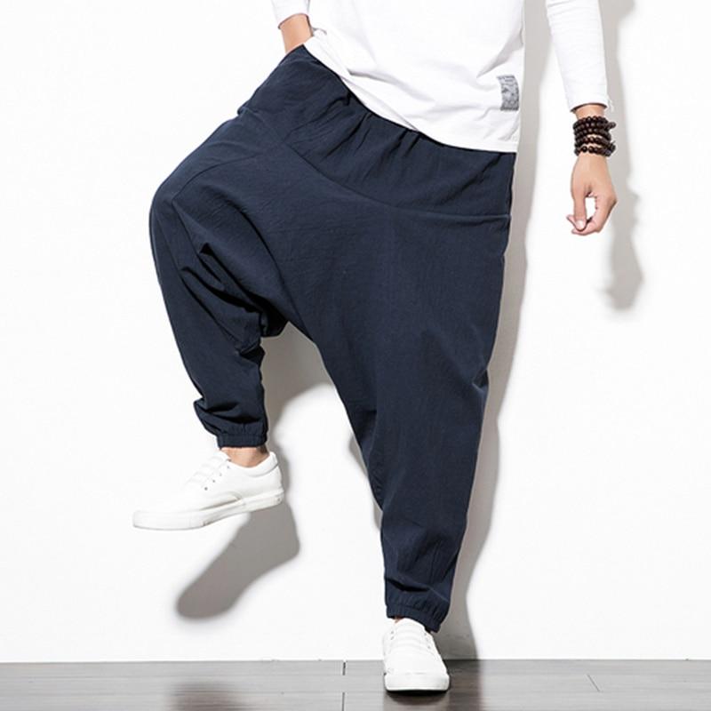 Mens Linen Cotton Harem Baggy Pants Japanese Loose Casual Style Boho Trousers