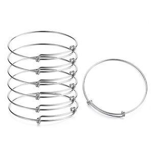 10 pçs 2.56 polegada de aço inoxidável ajustável pulseira pulseiras para mulheres expansível encantos pulseira para diy jóias fazendo