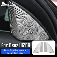 FLUGGESCHWINDIGKEIT Edelstahl für Mercedes Benz C Klasse W205 Zubehör Innen Trim Tür Audio Lautsprecher Dekorative Abdeckung Aufkleber