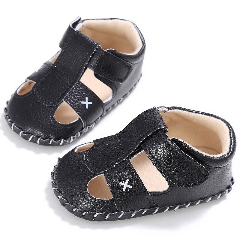 Newborn Baby Boy First Walker PU Anti-slip Crib Shoes Soft Sole Summer Prewalker 0-18M