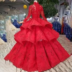 Image 2 - LS11290 robe de bal robes de soirée col haut manches longues à lacets dos rose robes de soirée de mariage pli multi couche vestido longo