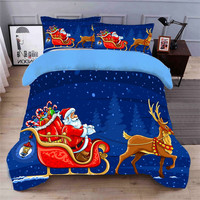 Blue Stars Bedding Sets Quilt Cover Pillowcase 3D Bedding Set Home Textile National Design Adult Santa Claus Bedding Sets
