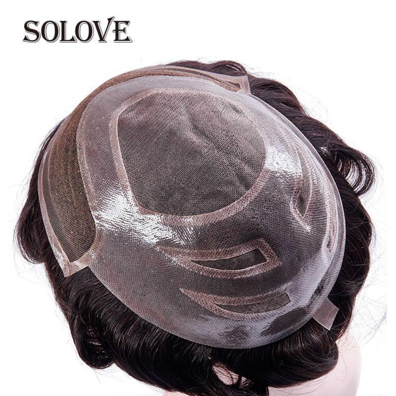 얇은 PU 머리 교체 시스템과 망 Toupee 모노 레이스 인도 레미 인간의 헤어 피스 가발 자연 Handmadec