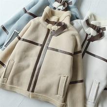 Модная женская замшевая куртка из овечьей кожи,, зимняя теплая подкладка из овечьей шерсти, Короткое женское пальто в байкерском и байкерском стиле, свободная верхняя одежда
