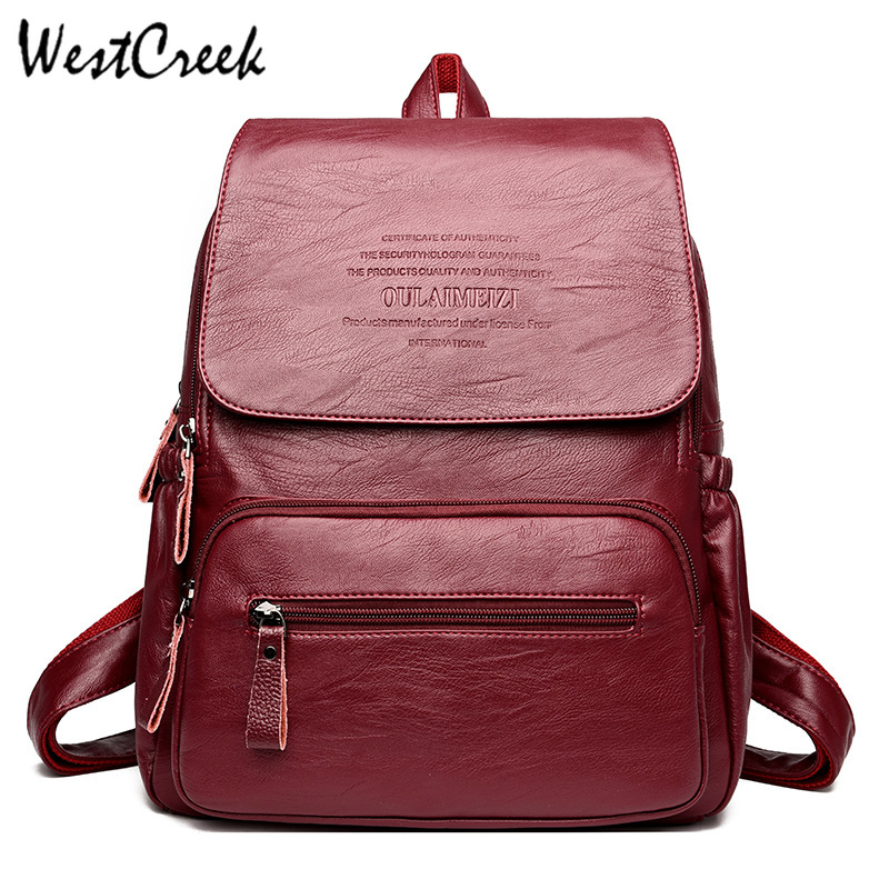 WESTCREEK Brand Vintage Leather Backpacks Fashion Female Travel Shoulder Bag Women Backpack Large Capacity Dayback For Girls