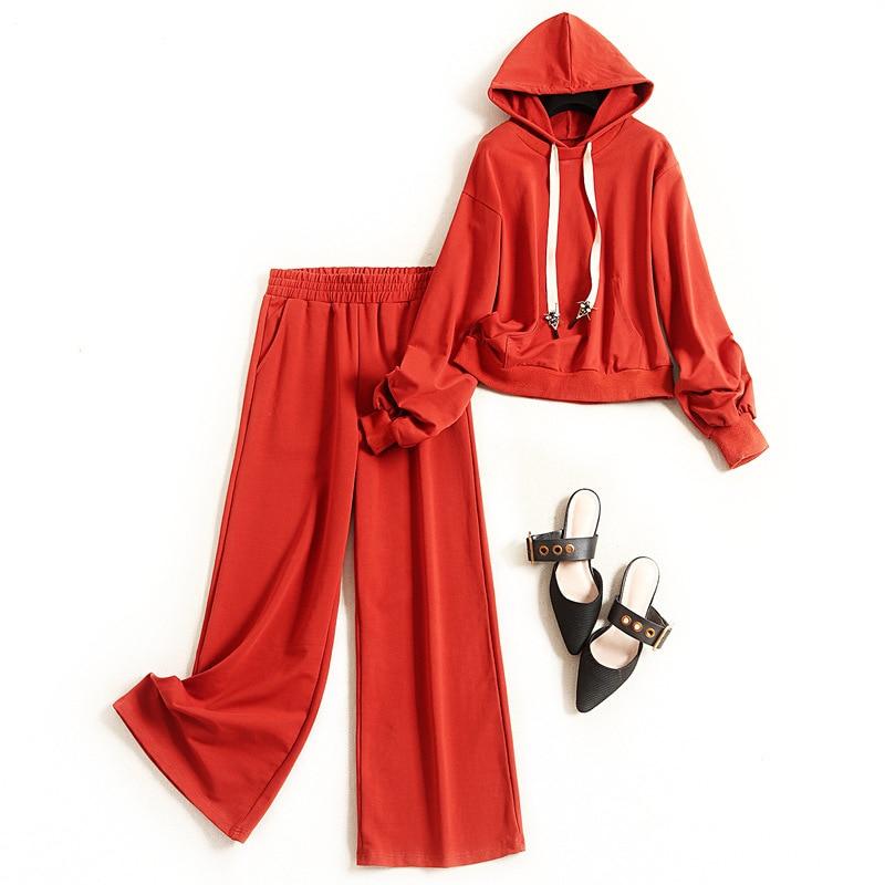 Women 2020 fashion cotton casual suit spring drawstring hooded sweatshirt loose + wide leg pants active two piece set orange