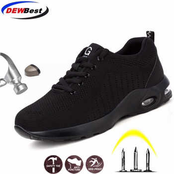 DEWBEST Safety Shoes Men Lightweight Breathable Puncture Proof Light Sneaker Non-slip Industrial & Construction Work Shoes - DISCOUNT ITEM  24 OFF Security & Protection
