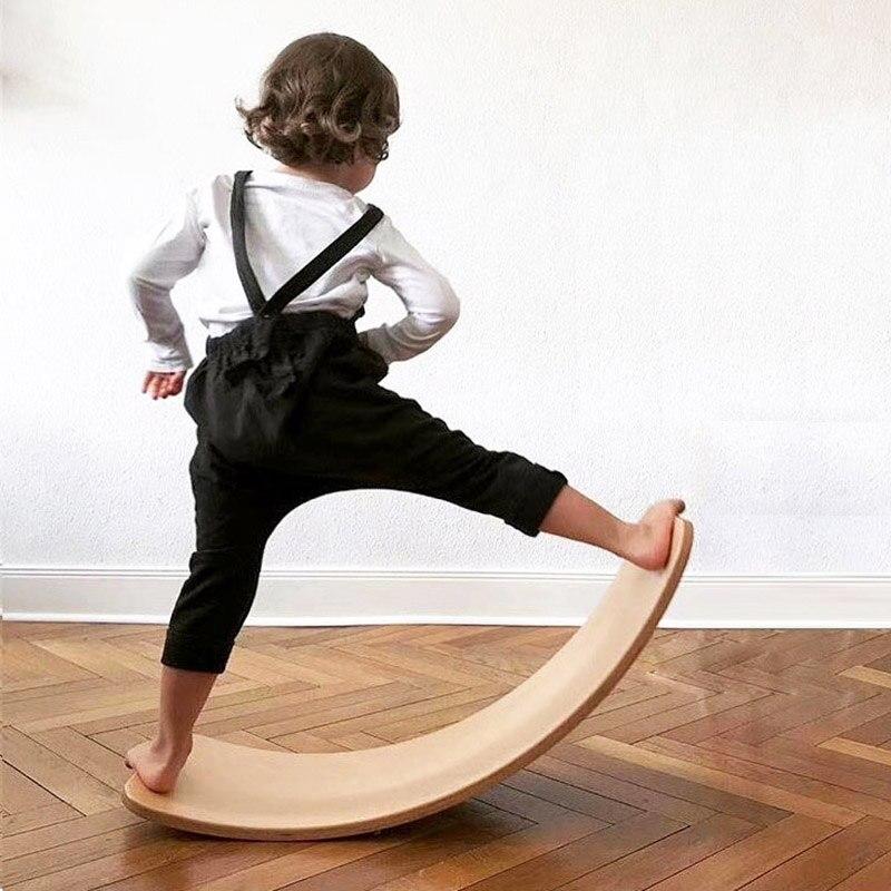 Деревянная доска-воблер, Детская балансировочная доска, деревянная изогнутая доска для йоги, фитнеса, игры Монтессори, уличные спортивные и...
