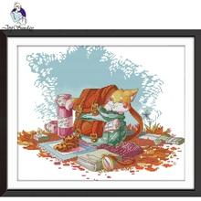 цена на Joy Sunday,cat,cross stitch embroidery set,Cartoon cross stitch pattern,cross stitch needlework,Animal pattern cross stitch kit