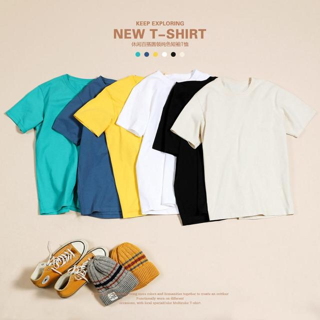SIMWOOD 2021 Summer New 100% Cotton White Solid T Shirt Men Causal O-neck Basic T-shirt Male High Quality Classical Tops 190449 1