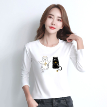 Milinsus Long Sleeve T-Shirt Women Cotton Cute Cartoon Cat Angle Print Korean Tees Tops Casual Autumn Winter 2019 Harajuku Shirt цена