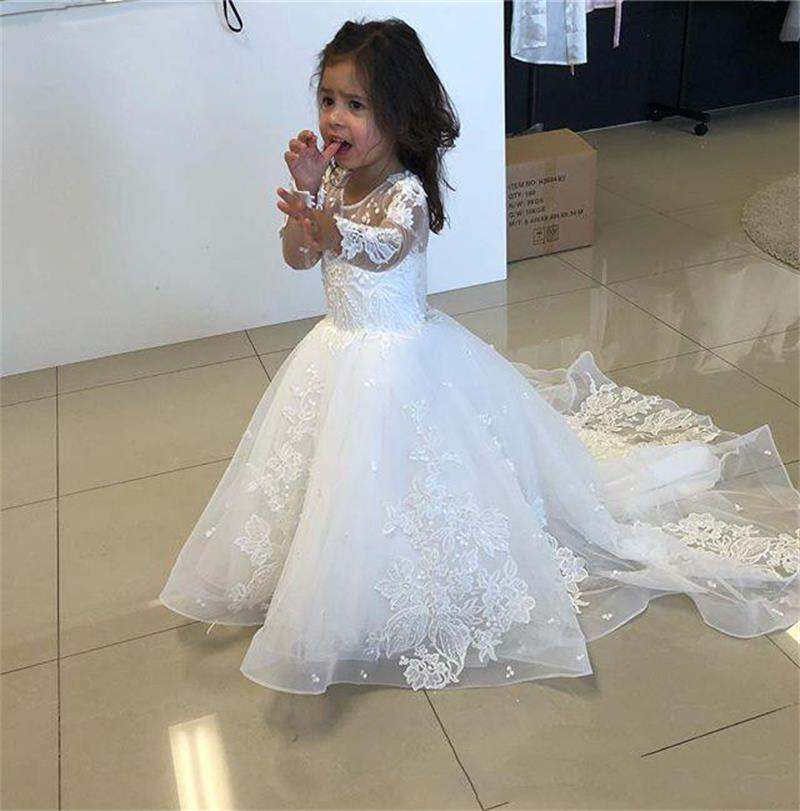 White Lace   Flower     girl     Dress   Long Sleeve 2019 Sweep Train Appliques First Communion   Dresses   for   Girls   Beading Wedding Party Gown