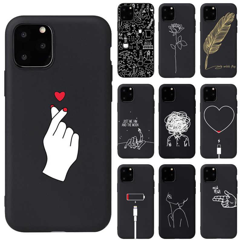 Modern Art prosta linia ręcznie różana dziewczyna ciało miękkie silikonowe etui do iPhone 11Pro 6 6s X 7 8 Plus 5S SE XS Max XR...