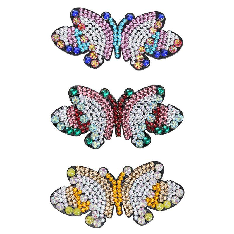 Leopard Print /& Diamanté Butterfly Hair Clips Set 2 x Clips
