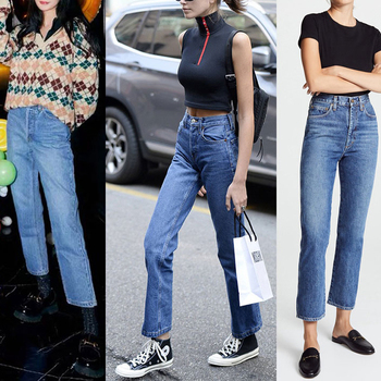 High Waist Straight Women Jeans Slim Boyfriend Style Casual Wild Ankle-length Female Jeans
