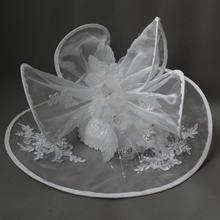 Винтаж свадебные шляпа свадьбная Шляпа платье из органзы цвет