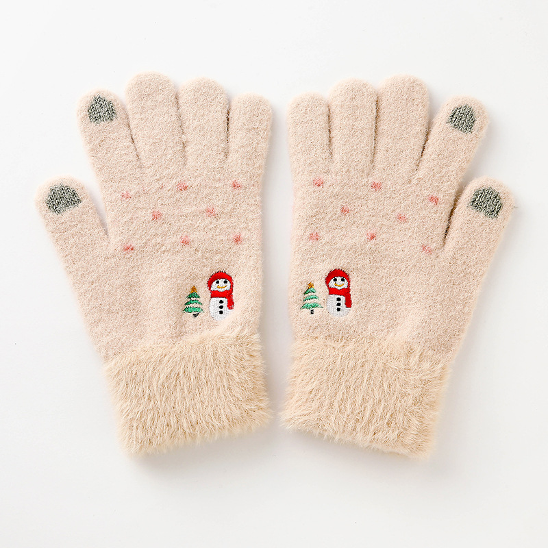 2021 Korean Version of Mink Fur Women's Winter Warm Gloves Thick Cute Pattern Finger-pointing Cycling Gloves Touch Gloves