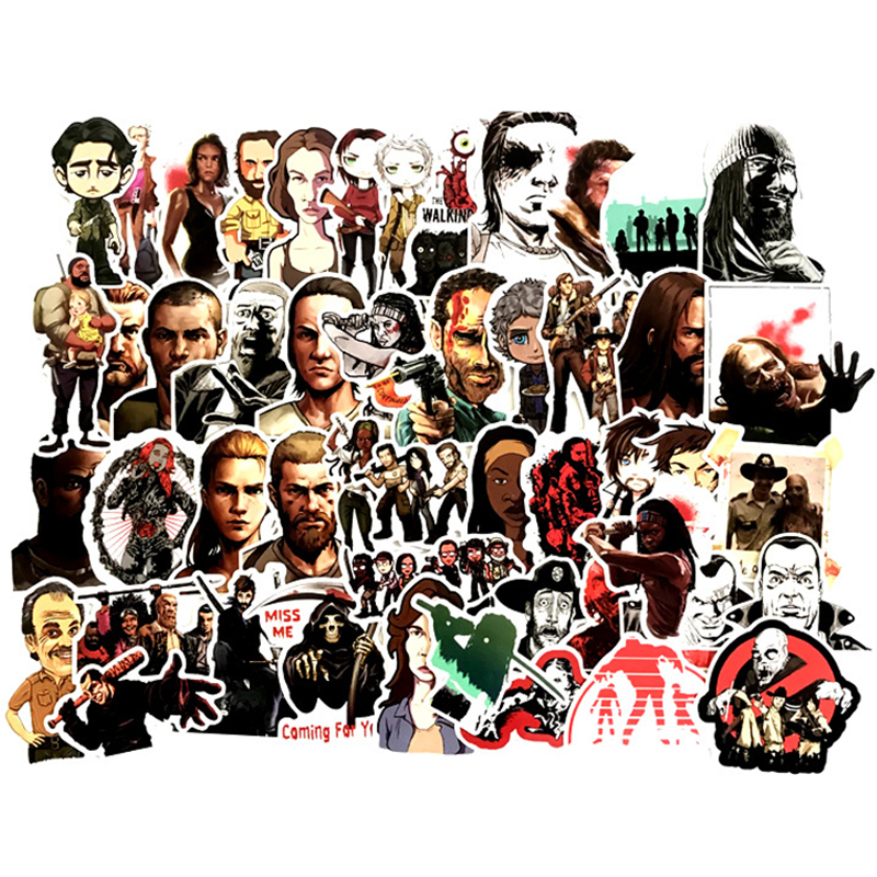 50PCS Hot TV Series The Walking Dead Stickers Vinly Toy Sticker The Phone Wall Decal For Laptop Skateboard Luggage Decor F3