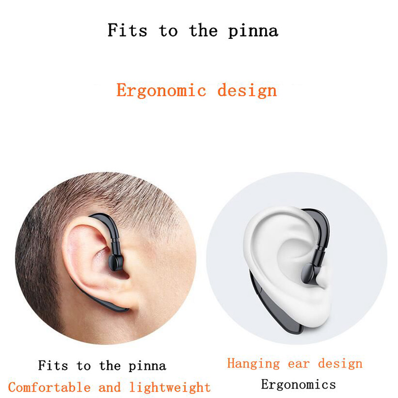 Hanging ear wireless bluetooth headset ultra light material painless wearing business sports stereo without ears for 15 hours