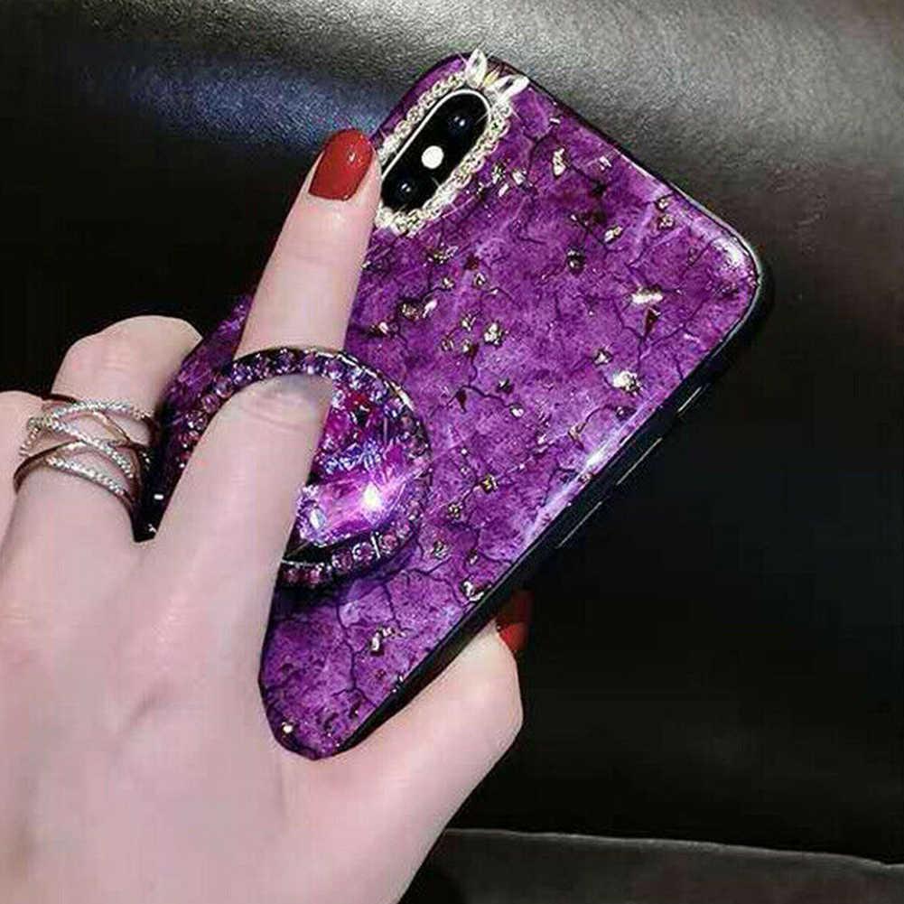 ผู้หญิงแฟชั่น Bling เพชร Finger Grip Stand Mount สำหรับ iPhone/Samsung/Huawei Universal ผู้ถือโทรศัพท์มือถือ