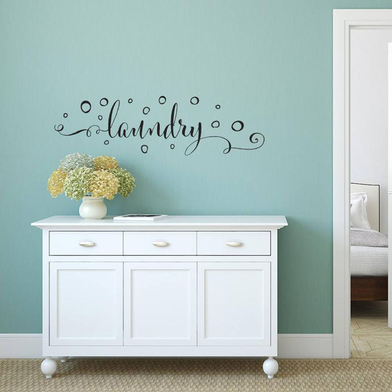 Laundry Room Wall Decal Vinyl Laundry Room Decor Wall Sticker Laundry Sign With Bubbles Decals for Home Wash Room Sign X231(China)