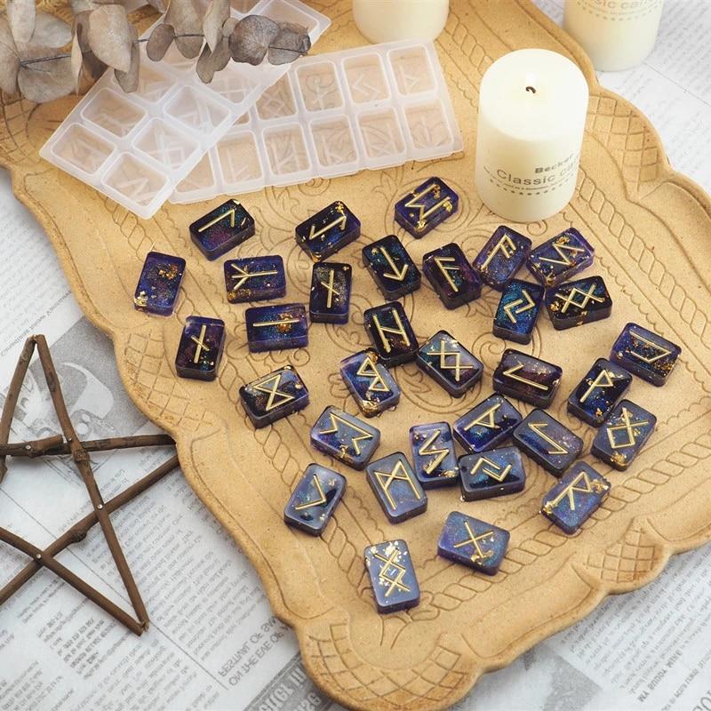 Molde de silicona Viking Rune Stones Witch Resin Mold Kit con Elder Futhark grabado