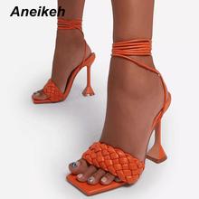 Aneikeh Sexy PU wiązane krzyżowo sandały lato 2021 nowy Peep Toe szpilki solidne modne buty wsuwane slajdy damskie Gladiator Party Shoes cheap CN (pochodzenie) Cienkie obcasy Otwarta RUBBER Super Wysokiej (8cm-up) 0-3 cm Lace-up Pasuje prawda na wymiar weź swój normalny rozmiar