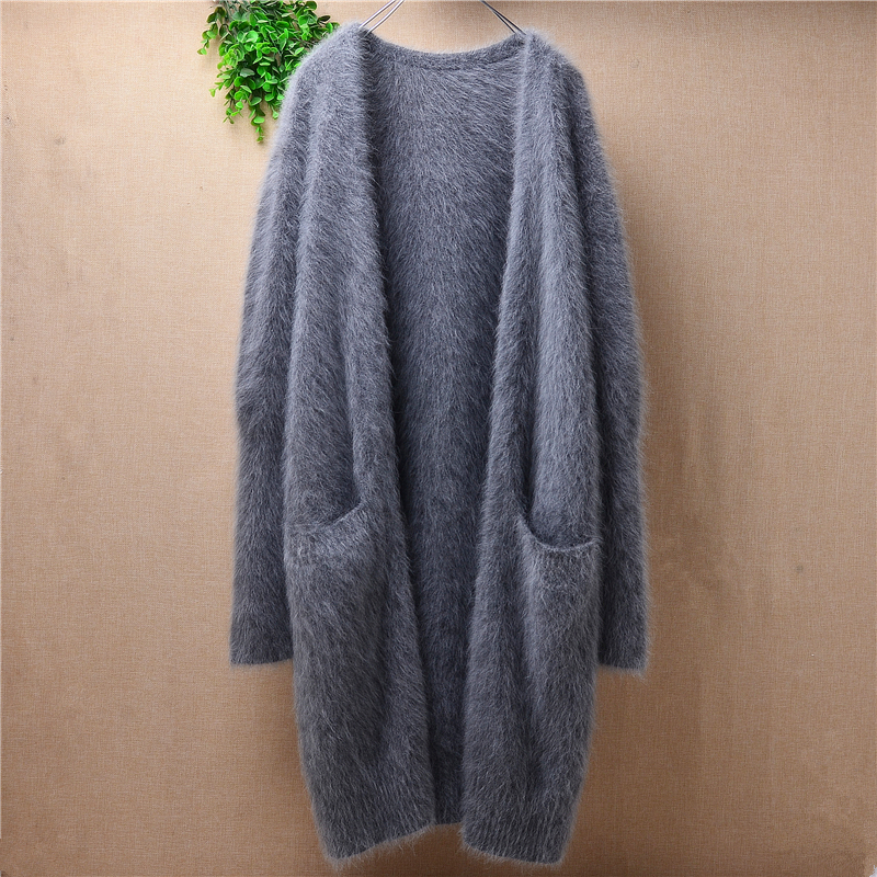 Hot Sale New Autumn And Winter Ladies High Quality Cardigan Coat Pure Angora Rabbit Fur Knitted Sweater Mink Warm Clothing